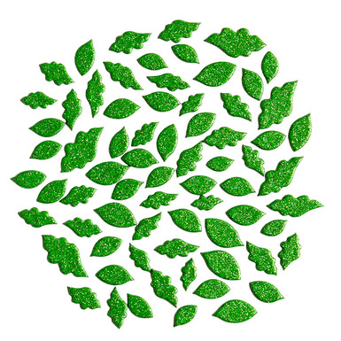 124000 greenglitterchipboardleaves